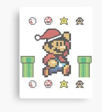 Christmas Super Mario Pixel Knit Canvas Print