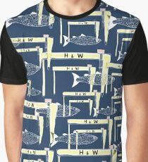Cranes and Fish Print Graphic T-Shirt