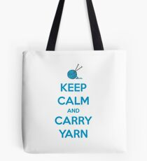 Knitting Gifts for Knitters | Keep Calm and Carry Yarn | Crochet Lovers Tote Bag