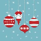 retro red ornaments on teal  by SylviaCook