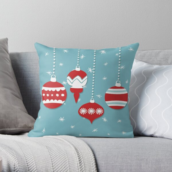 retro red ornaments on teal  Throw Pillow
