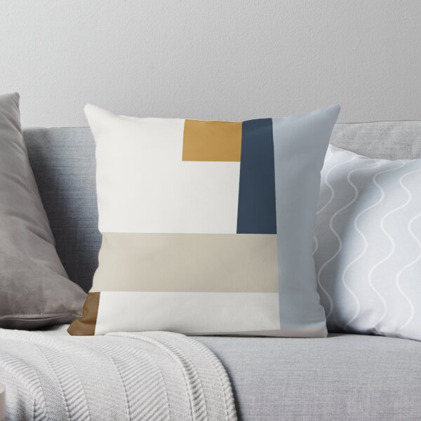 Mid Century Modern Minimal Vintage Pattern Scandinavian inspired Colorfield Geometric Abstract Art Poster Throw Pillow