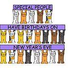 December 31st Birthday, Cartoon Cats. by KateTaylor