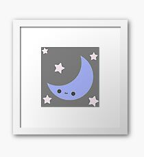 Smiling Moon and Stars Framed Print