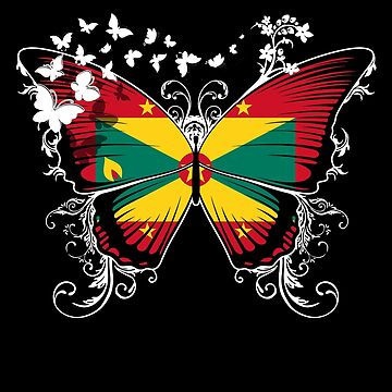 Grenada Flag Butterfly Grenadian National Flag DNA Heritage Roots Gift  by nikolayjs