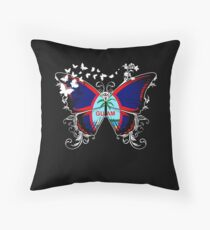 Guam Flag Butterfly Guamanian National Flag DNA Heritage Roots Gift  Throw Pillow