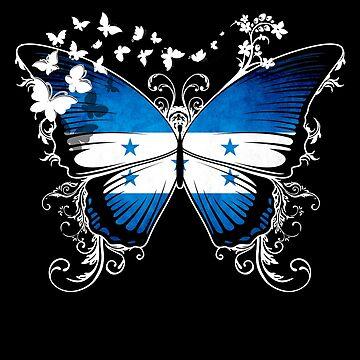 Honduras Flag Butterfly Honduran National Flag DNA Heritage Roots Gift  by nikolayjs