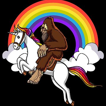 Bigfoot Riding Unicorn Magical Rainbow by underheaven