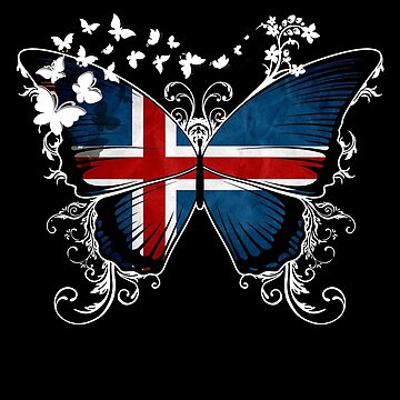 Iceland Flag Butterfly Icelandic National Flag DNA Heritage Roots Gift  by nikolayjs