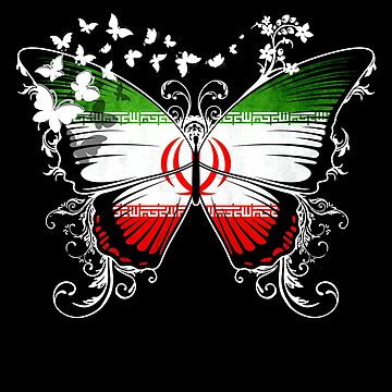 Iran Flag Butterfly Irani National Flag DNA Heritage Roots Gift  by nikolayjs