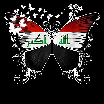Iraq Flag Butterfly Iraqi National Flag DNA Heritage Roots Gift  by nikolayjs
