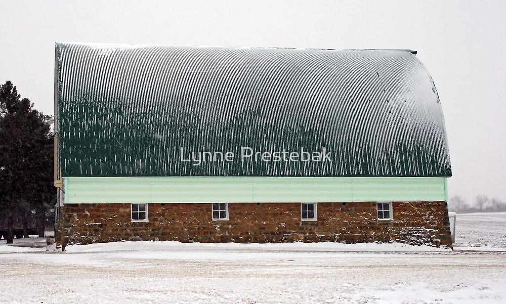 green-roofed barn in winter by Lynne Prestebak