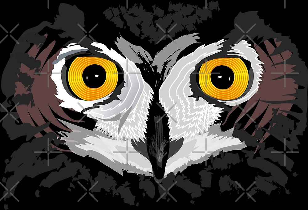 Owl Eyes Black by LeShouArt