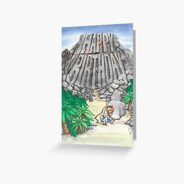 Happy Birthday carved in rock Greeting Card Greeting Card