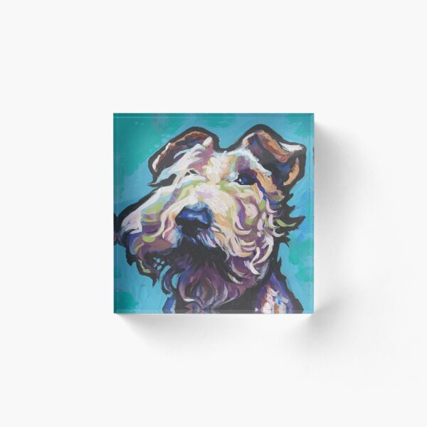 Fun Wire Hair Fox Terrier Dog bright colorful Pop Art Acrylic Block