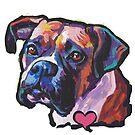 «Divertido perro BOXER brillante colorido Pop Art» de bentnotbroken11