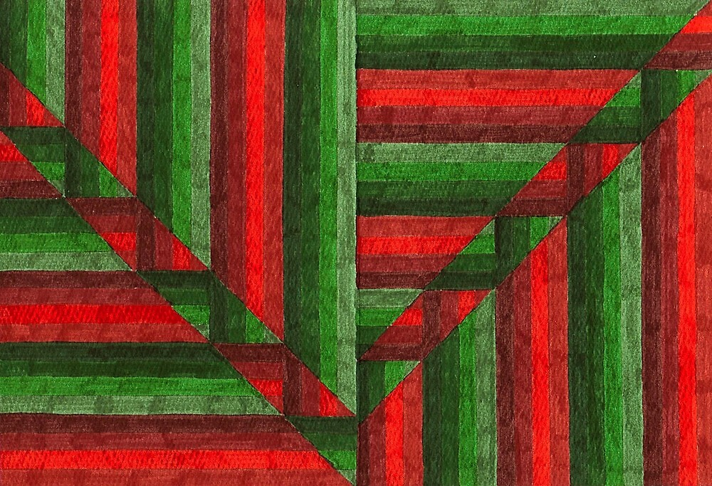Abstract Art Study - Reds & Greens by Oldetimemercan