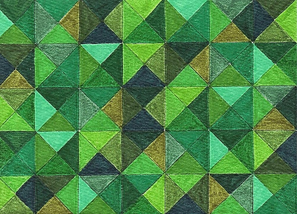 Abstract Art Study - Green Diamonds by Oldetimemercan