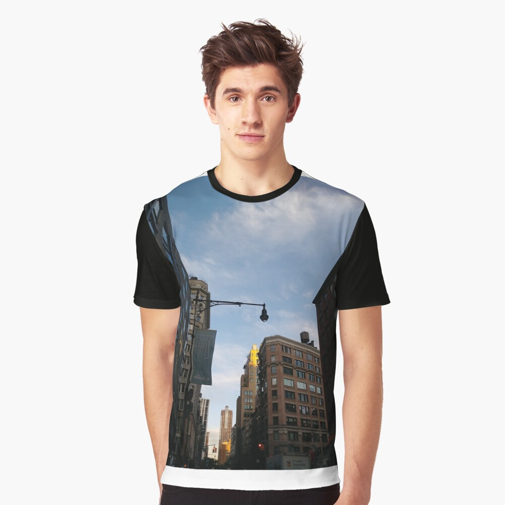 #sky, #architecture, #business, #city, #outdoors, #technology, #modern, #vertical, #colorimage, #NewYorkCity, #USA, #americanculture Graphic T-Shirt Front
