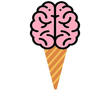 Ice Cream Cone Brain Abstract Mind Think Hipster  by Essetino