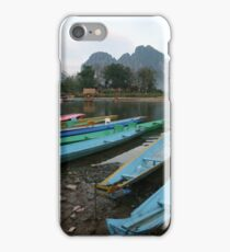 Boats, Vang Vieng, Laos iPhone Case/Skin