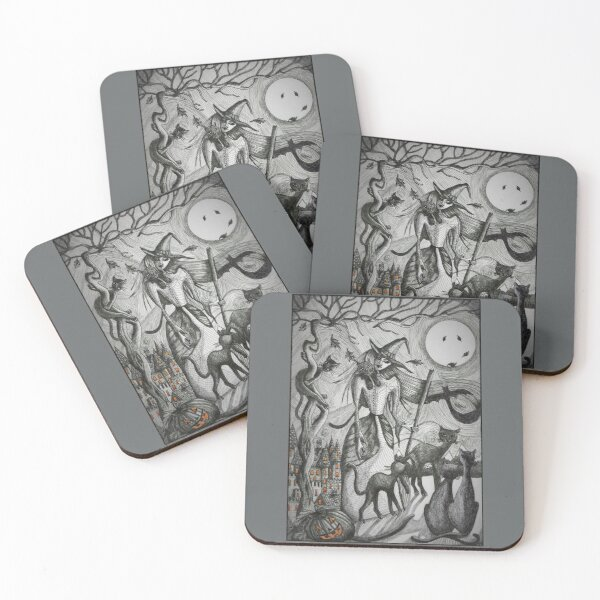 Witches Cats Coasters (Set of 4)