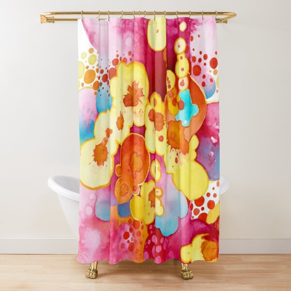 Boom! Everything - Watercolor Painting Shower Curtain