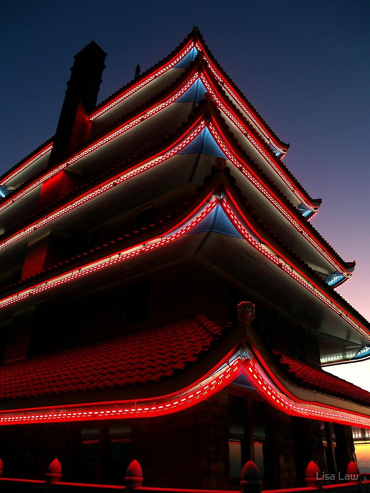 The Pagoda by Night II by Lisa Brower
