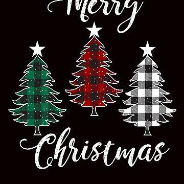 Merry Christmas Santas Tree Plaid by Tetete