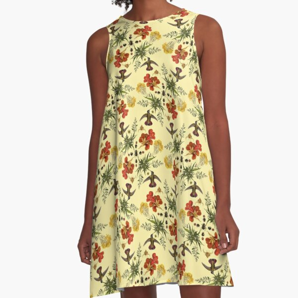 Hummingbirds in Summer. batanical nature pattern. A-Line Dress