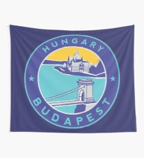 Budapest Chain Bridge, circle blue Tapestry