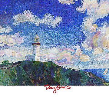 Cape Byron Light House, Byron Bay - White Text by tobycentreart