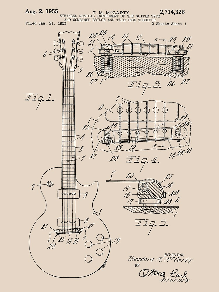 TShirtGifter presents:  Guitar patent from 1955 | Unisex T-Shirt