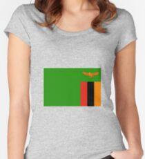 Flagge von Sambia Tailliertes Rundhals-Shirt