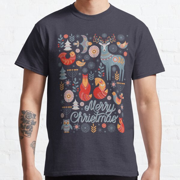 The pattern of animals, flowers, trees, birds. The Scandinavian style. Folk art. Christmas pattern.  Classic T-Shirt