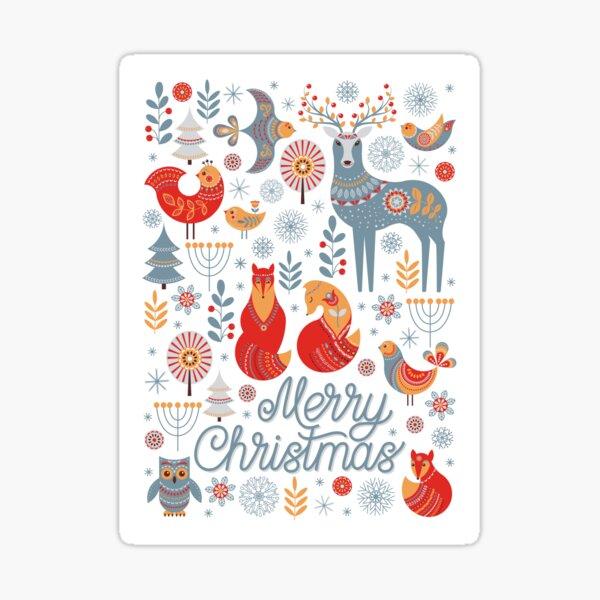 The pattern of animals, flowers, trees, birds. The Scandinavian style. Folk art. Christmas pattern.  Sticker