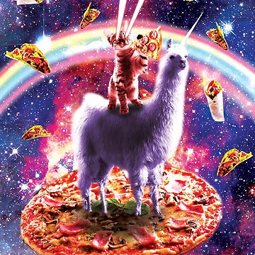 Laser Eyes Outer Space Cat Riding On Llama Unicorn by SkylerJHill