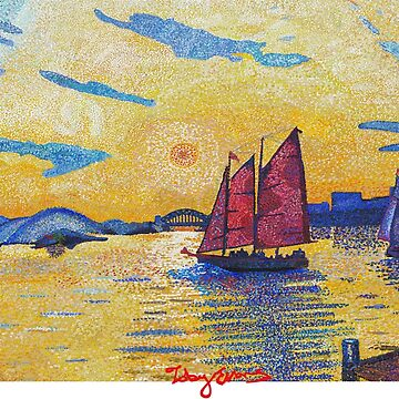 New York Sunset with sail boat by tobycentreart