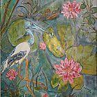 Jabaru in wetlands australia acrylic on canvas 20X3O by eoconnor