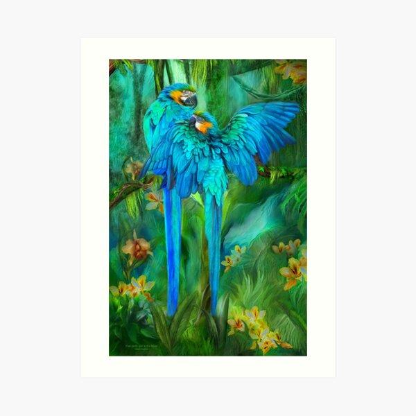 Tropic Spirits - Gold and Blue Macaws Art Print