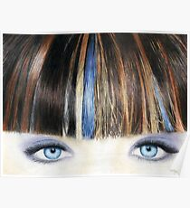 Blue Eyes Coloured Pencil Drawing (Vibrant) Poster
