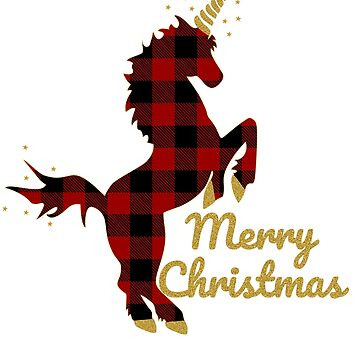 Red Buffalo Plaid Unicorn Christmas for Mom Dad And Kids by Tetete