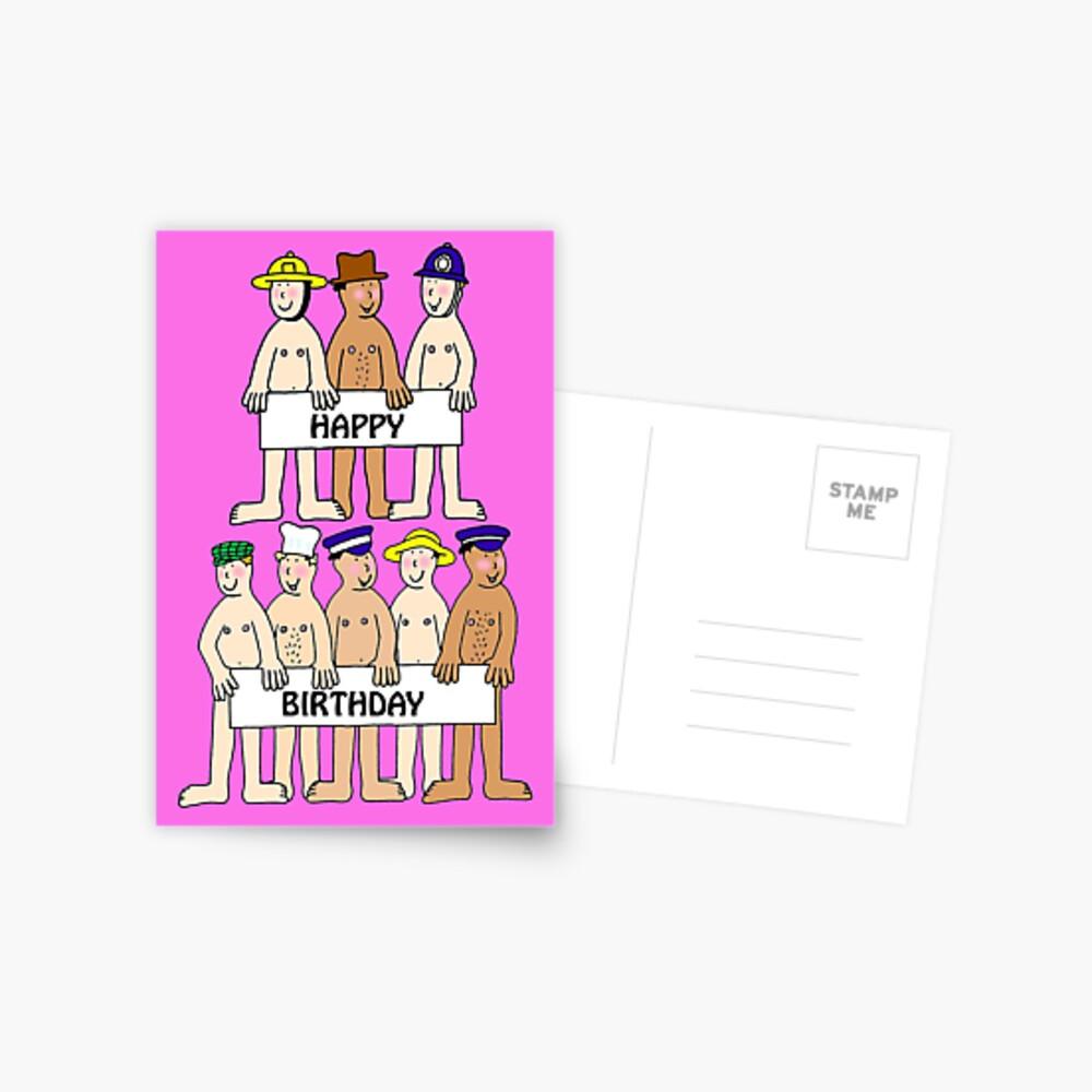 Carte De Vœux Bande Dessinee Nue Joyeux Anniversaire Hommes En Chapeaux Par Katetaylor Redbubble
