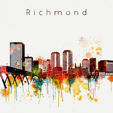 Watercolor Richmond Virginia Skyline by DimDom