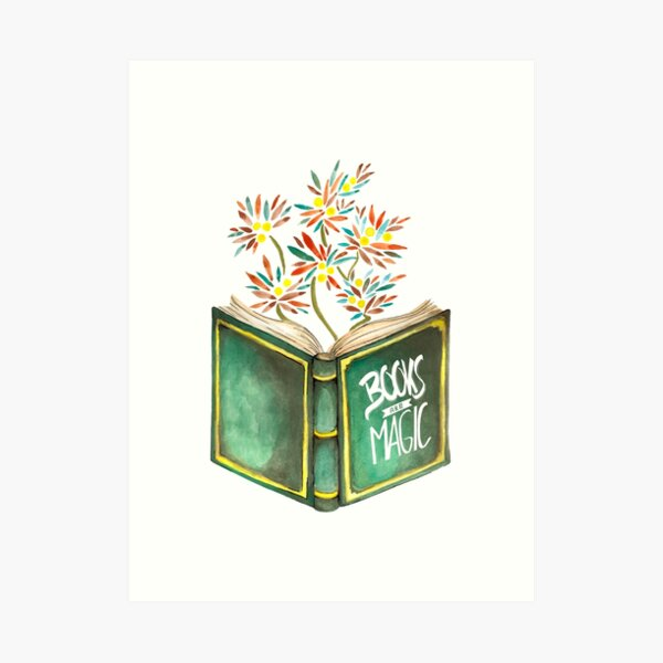 Books are magic - Flowers Kunstdruck