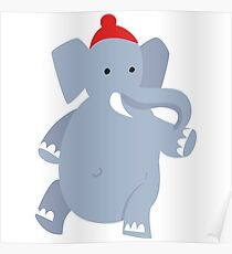 Cute Elephant with red beanie Poster