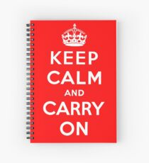 KEEP CALM AND CARRY ON (BLACK) Spiral Notebook