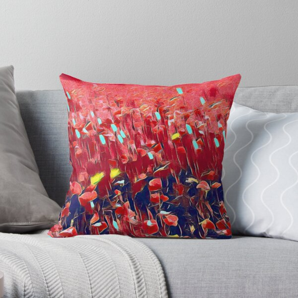Magical poppy field Throw Pillow