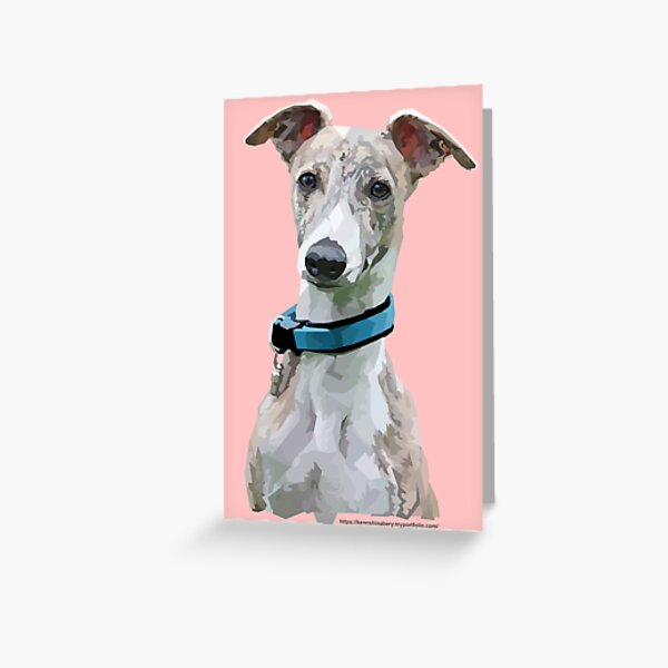 Low Poly Art - Whippet Greeting Card
