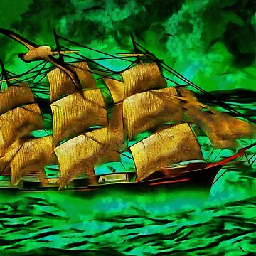 A digital painting of A Clipper Ship 1863 and Albatros (2) by ZipaC
